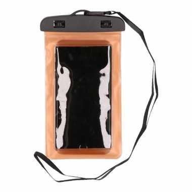 2x waterdicht telefoonhoesje voor alle telefoons oranje