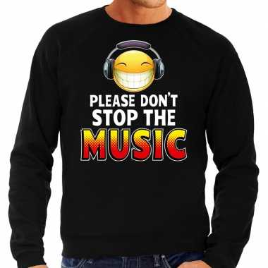 Funny emoticon sweater please dont stop the music zwart here