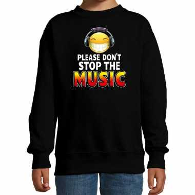 Funny emoticon sweater please dont stop the music zwart kids
