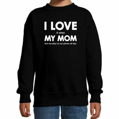 I love it when my mom lets me play on my phone all day sweater zwart voor kids