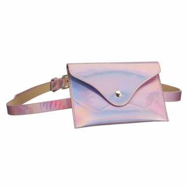 Metallic roze mini heuptasje buideltasje aan riem voor dames