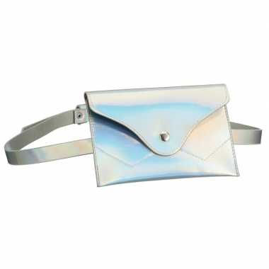 Metallic wit mini heuptasje/buideltasje aan riem voor dames