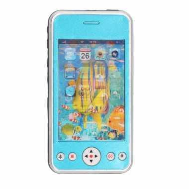 Speelgoed smartphone mobiele telefoon blauw met licht en geluid 11 cm