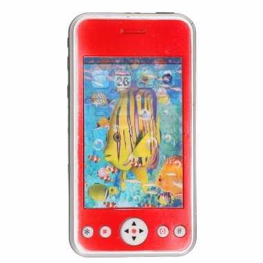 Speelgoed smartphone mobiele telefoon rood met licht en geluid 11 cm