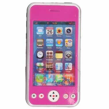 Speelgoed smartphone/mobiele telefoon roze met licht en geluid 11 cm
