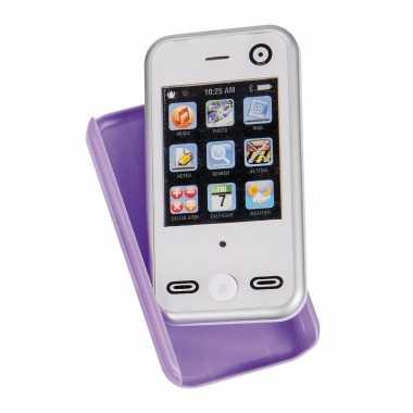 Speelgoed smartphone/mobiele telefoon wit met geluid 8 cm