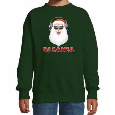 Stoere kersttrui / sweater dj santa groen voor kinderen