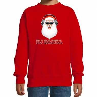 Stoere kersttrui / sweater dj santa rood voor kinderen
