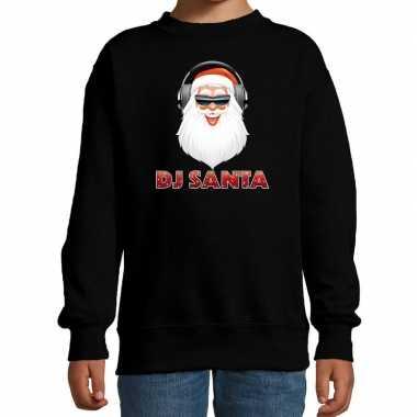 Stoere kersttrui / sweater dj santa zwart voor kinderen