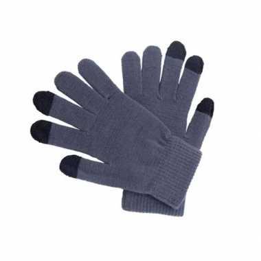 Touchscreen handschoenen grijs voor volwassenen