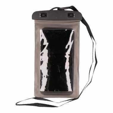 Waterdicht telefoonhoesje voor alle telefoons transparant/ grijs