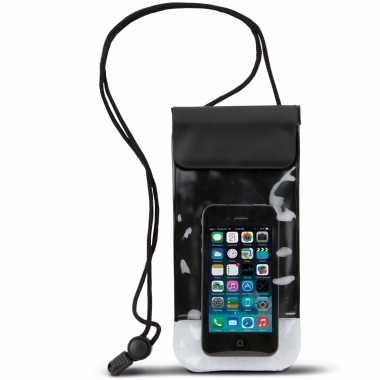 Waterdichte telefoon hoes met nekkoord zwart 10 x 20 cm telefoonacces