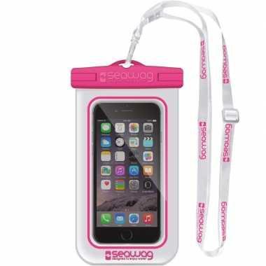 Witte/roze waterproof hoes voor smartphone/mobiele telefoon