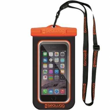 Zwarte/oranje waterproof hoes voor smartphone/mobiele telefoon