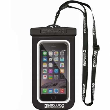 Zwarte/witte waterproof hoes voor smartphone/mobiele telefoon
