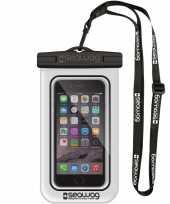 Witte zwarte waterproof hoes voor smartphone mobiele telefoon