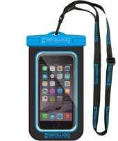Zwarte blauwe waterproof hoes voor smartphone mobiele telefoon