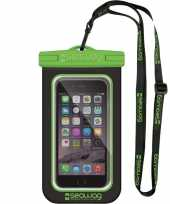 Zwarte groene waterproof hoes voor smartphone mobiele telefoon