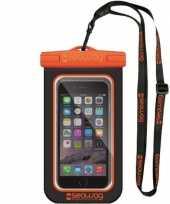 Zwarte oranje waterproof hoes voor smartphone mobiele telefoon
