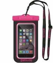 Zwarte roze waterproof hoes voor smartphone mobiele telefoon